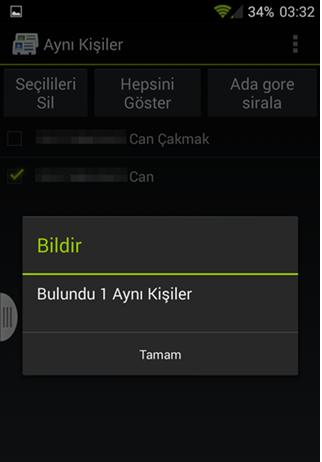 Android Telefonlarda Rehberdeki Aynı Numaraları Silme1