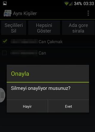 Android Telefonlarda Rehberdeki Aynı Numaraları Silme2