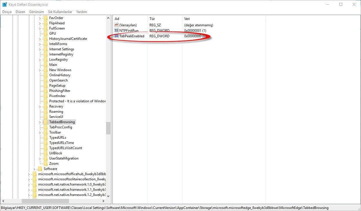 Microsoft Edge Önizleme Kaldırma