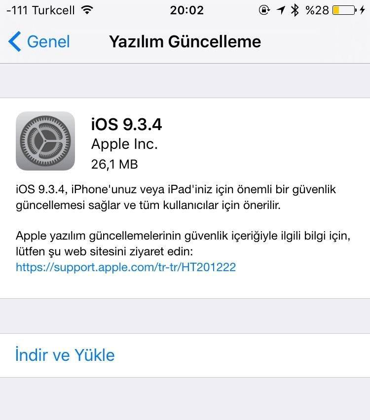iOS 9.3.4 Sürümü Yayınlandı1