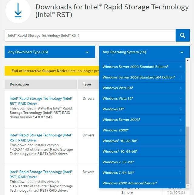 Intel Rapid Storage Tekonolojisi Sürücüsünü Yükleyin
