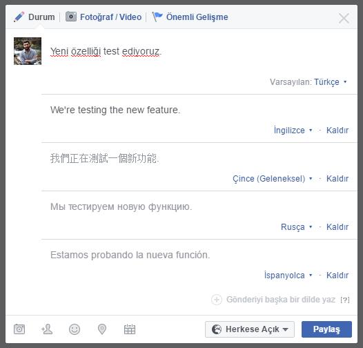 Facebook'da Birden Fazla Dilde Gönderi Paylaşmak