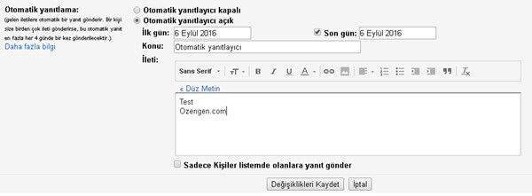 Gmail Otomatik Yanıtlayıcı Ayarları