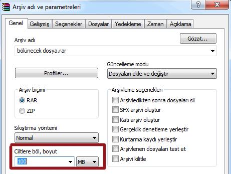 WinRAR ile Dosya Bölme İşlemi Nasıl Yapılır ?