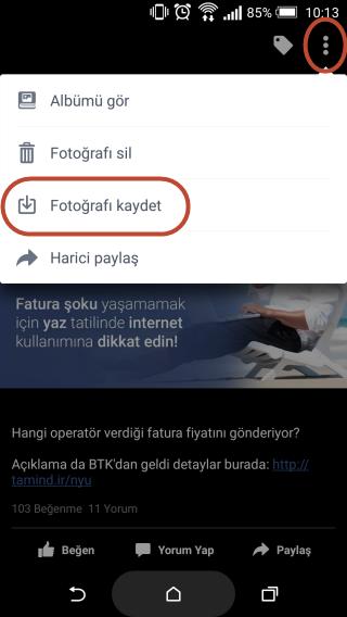 Android'de Facebook Fotoğraflarını İndirme