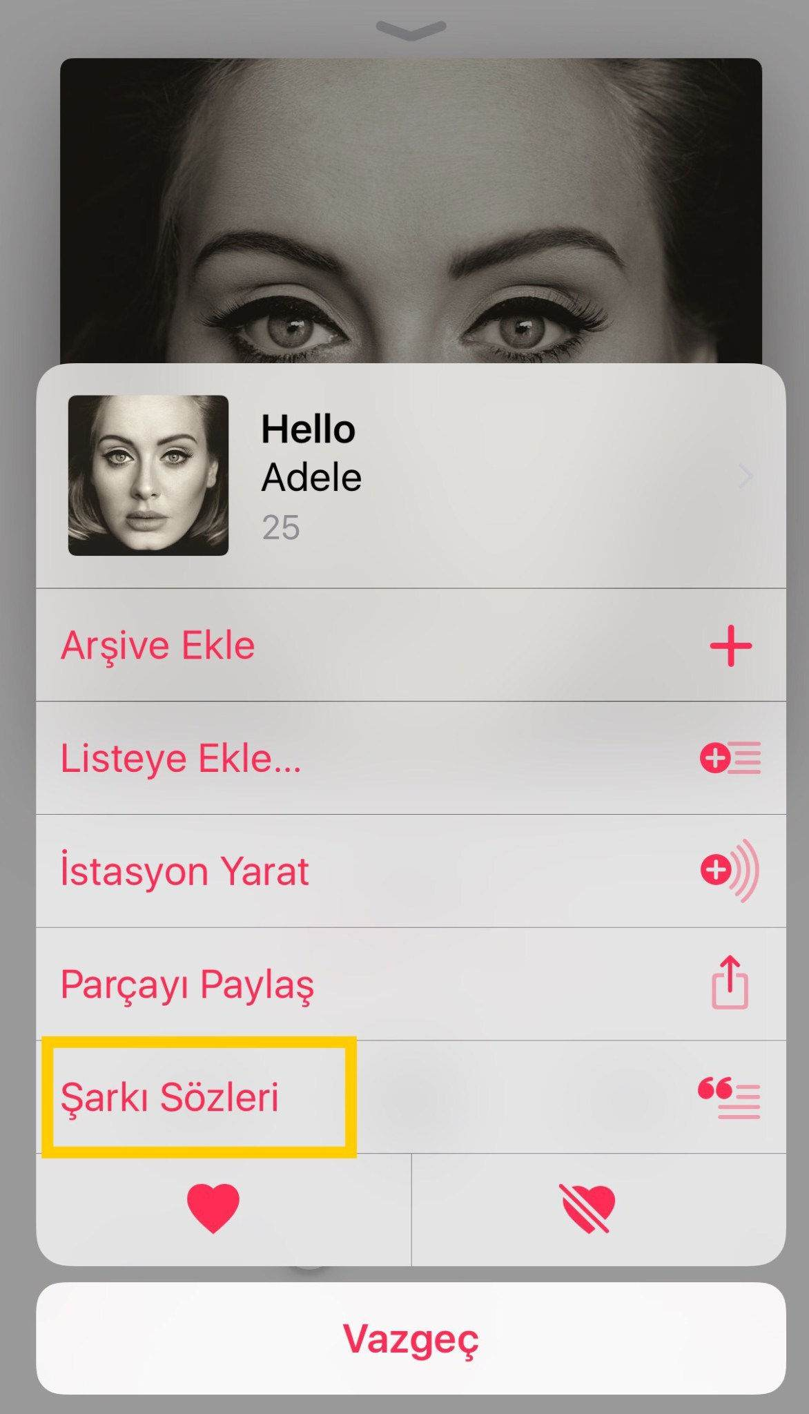 Apple Müzik Şarkı Sözlerini Gösterme