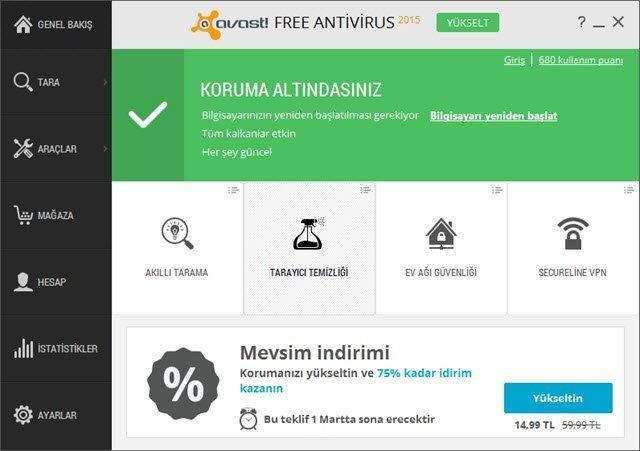 Avast'ın Ücretsiz Antivirüs Yazılımı ile Virüs Temizleme