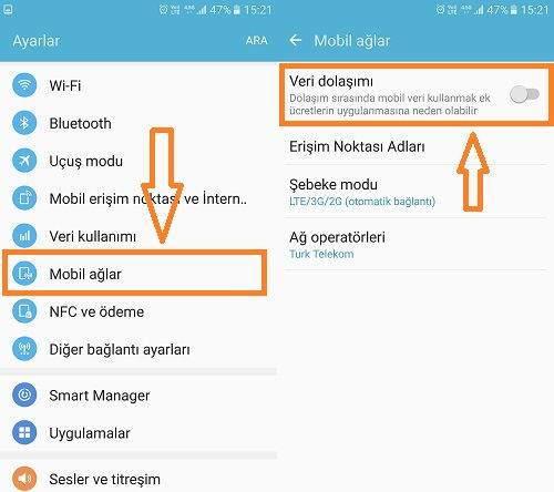 Android'de Veri Dolaşımı Nasıl Kapatılır ?