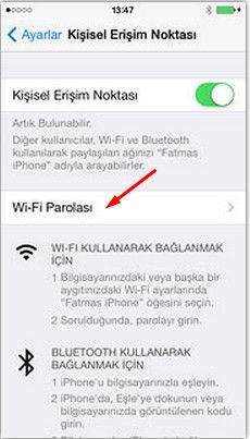 İphone'u Modem Olarak Kullanma