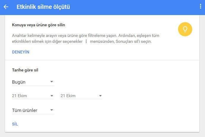 Google Arama Geçmişi Silme