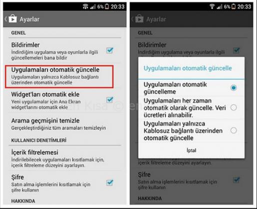 Google Play üzerinden uygulama güncelleme