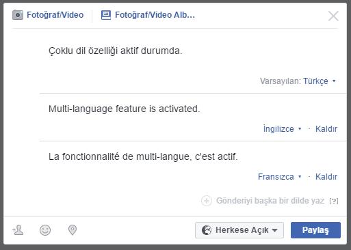 Facebook 'da Çoklu Dilde Paylaşım Nasıl Yapılır ?
