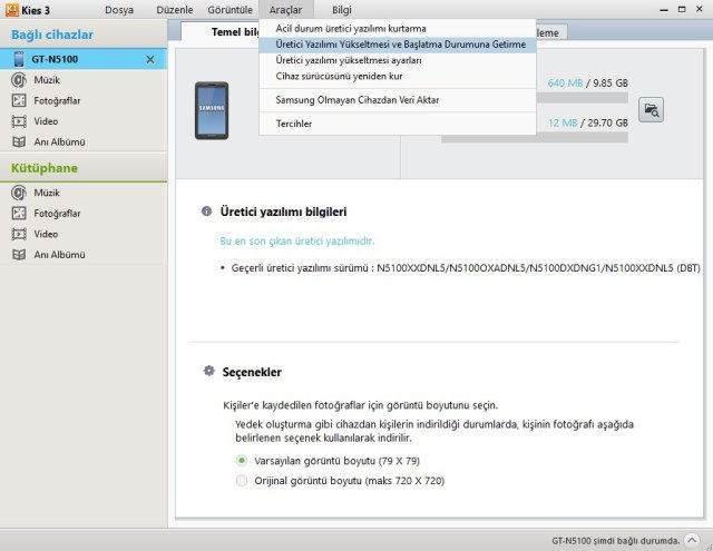 Samsung Kies Fabrika Yazılımına Dönme, Cihaz Güncelleme