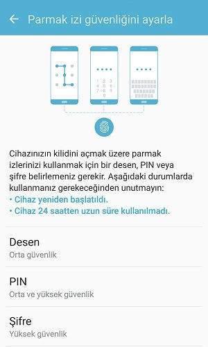 Samsung Telefonlarda Kilit Ekranı Açmak İçin Parmak İzi Tanımlama