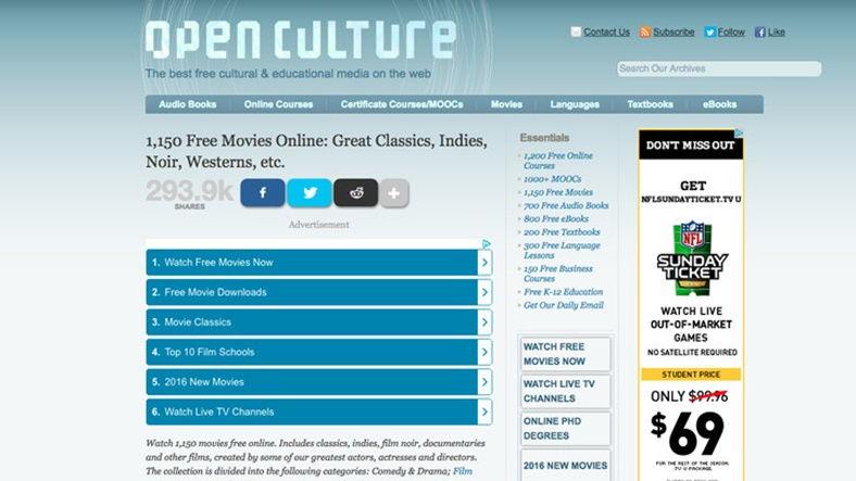Yasal Olarak Film İzleyip İndirebileceğiniz 10 Site - Open Culture