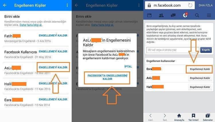 Messenger'da Facebook Kişi Engeli Kaldırma