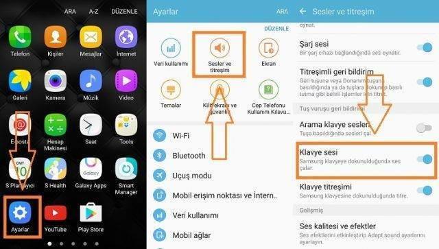 Samsung Telefonlarda Klavye Sesini Kapatma