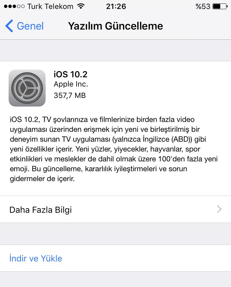 iOS 10.2 Yayınlandı !