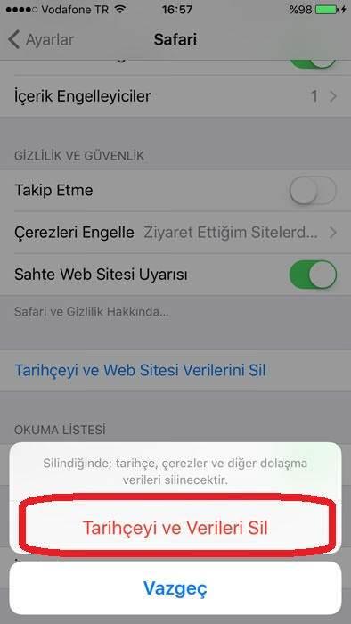 iPhone Safari Geçmişini Temizleme