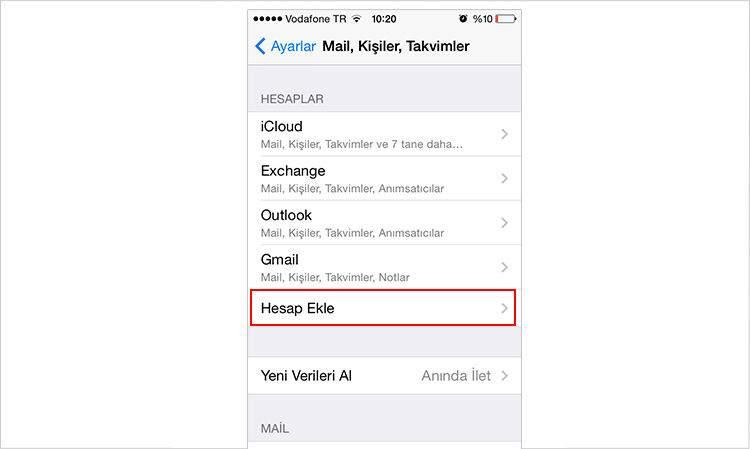 iPhone e-Mail Hesabı Nasıl Eklenir