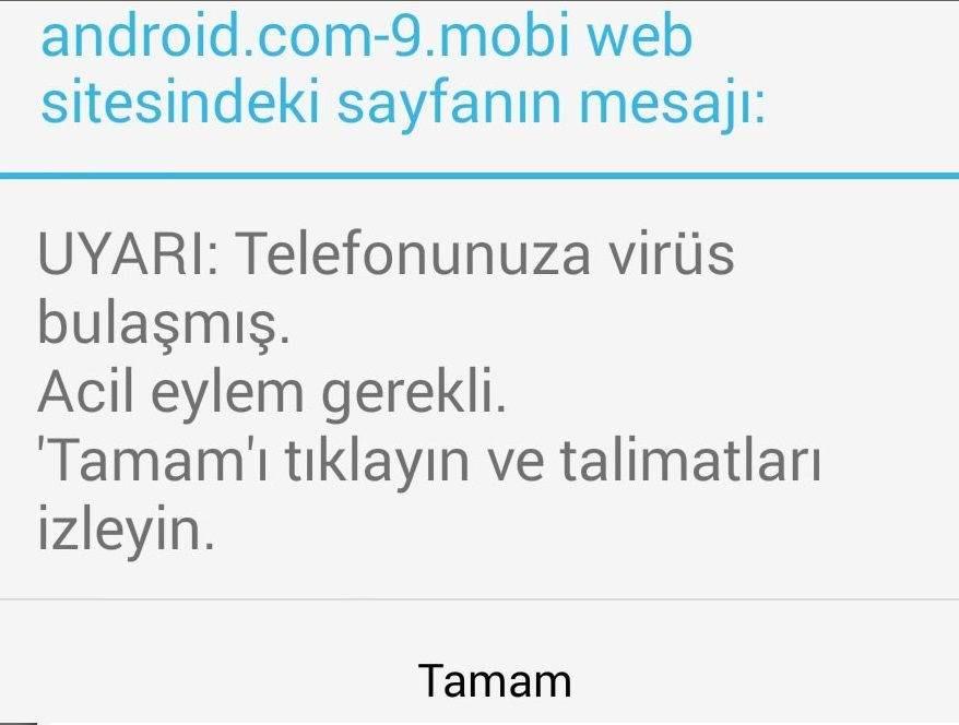Telefonda Virüs Var Uyarısı Nedir ?