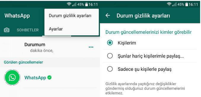Whatsapp Durum Gizliliği Nasıl Ayarlanır ?