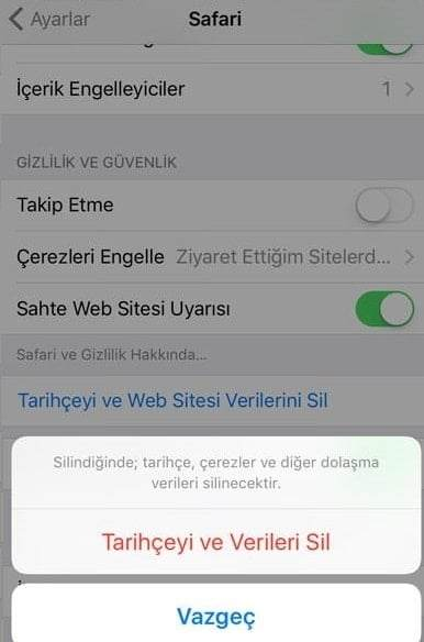 iPhone İnternet Geçmişi Silme