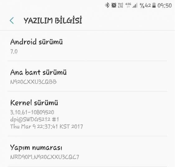 Galaxy Note 5 Android Nougat Güncellemesi