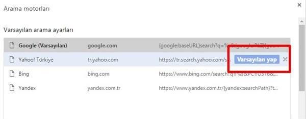 Chrome'da Varsayılan Arama Motoru Değiştirme Nasıl Yapılır