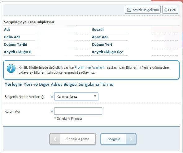 e-Devletten İkametgah Belgesi Nasıl Alınır