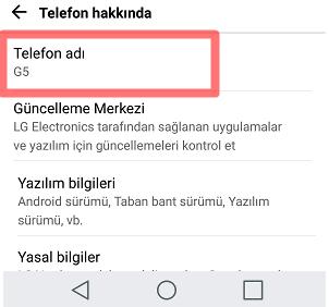 Android iPhone'da Telefon Adı Değiştirme
