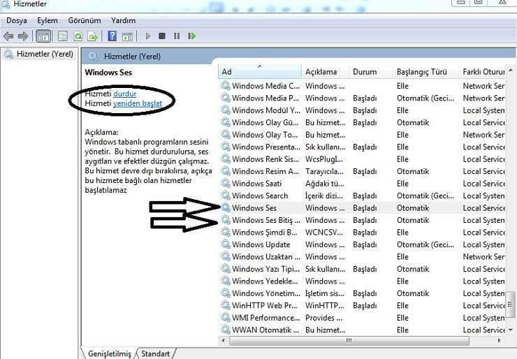 Windows 10 Ses Sorunu Çözümü