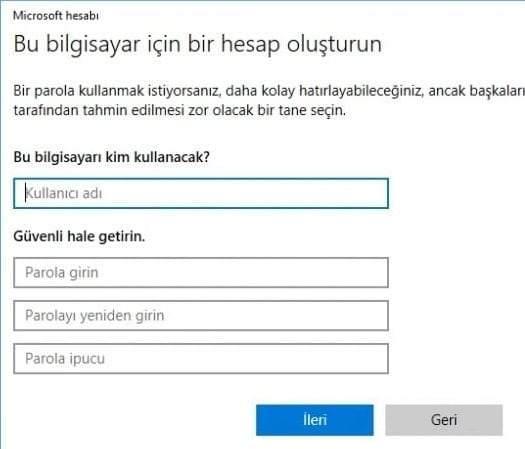 Windows 10'da Yeni Kullanıcı Nasıl Oluşturulur