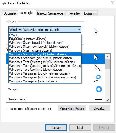Windows 10'da Fare İmleci Değiştirme Nasıl Yapılır