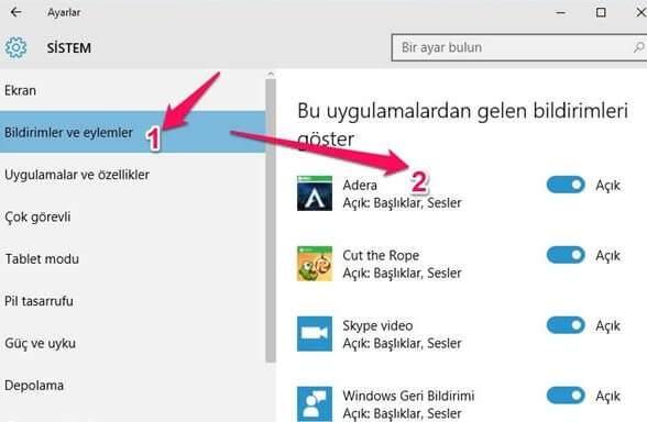 Windows 10 Uyarıları Kapatma