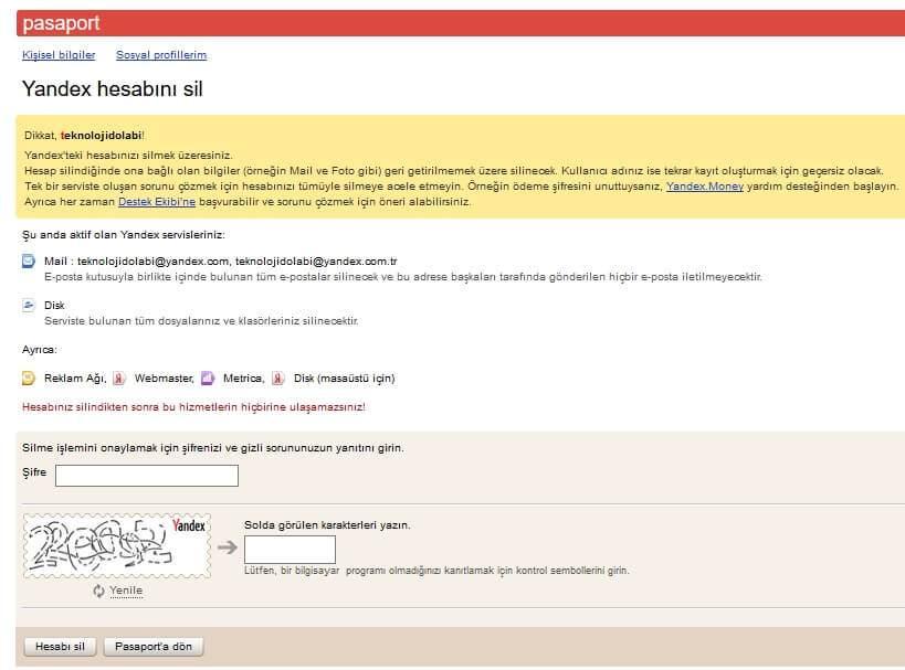 Yandex Hesap Silme Nasıl Yapılır?