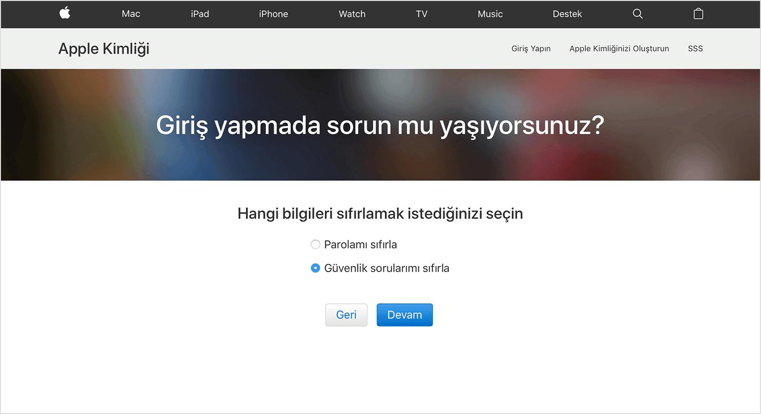 Apple Kimliği Güvenlik Sorularını Sıfırlama
