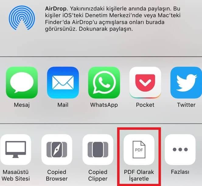 Safari ile Web Sayfalarını PDF Olarak Kaydetme