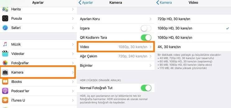 iPhone'da Video Kalitesini Düşürme veya Yükseltme Nasıl Yapılır?