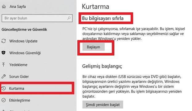 Windows 10 Sıfırlama Nasıl Yapılır