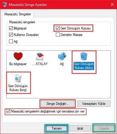 Windows 10'da Geri Dönüşüm Kutusu Simgesi Nasıl Değiştirilir ?
