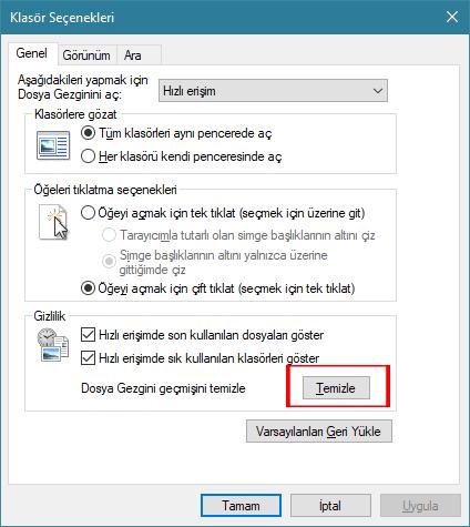 Windows 10 Bilgisayarda Son Girilen Yerleri Silme