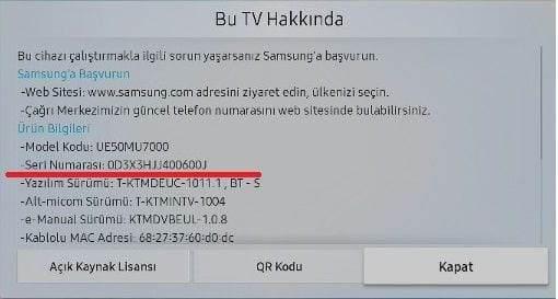 Samsung Seri Numarası Bulma