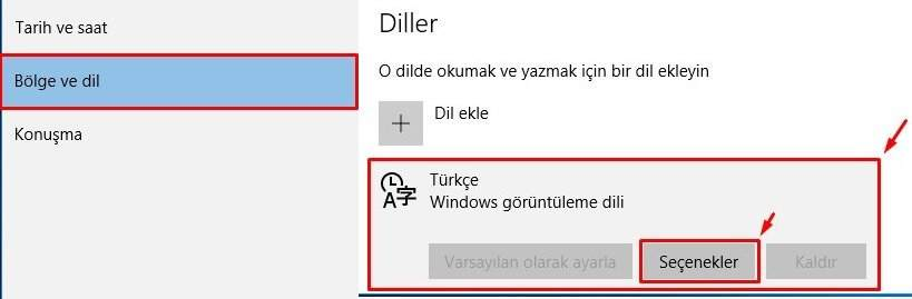 Windows 10 Klavye Değişikliği