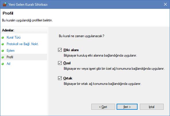 Windows güvenlik duvarında Port Açma