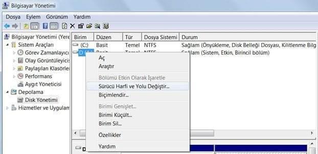 Windows 10 disk gizleme