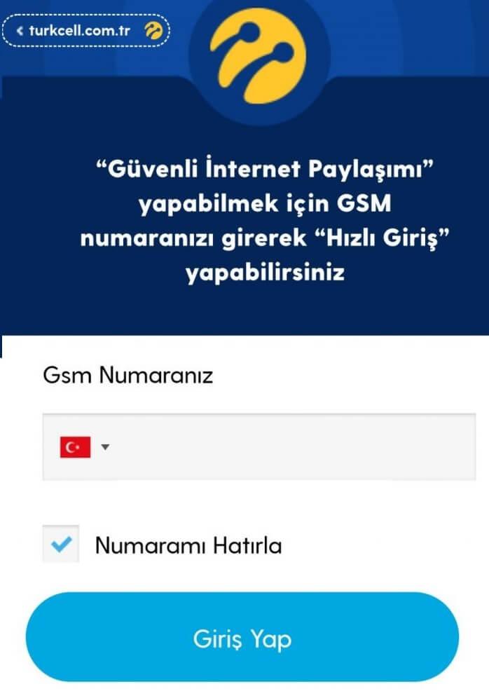 turkcell hızlı giriş 500 mb