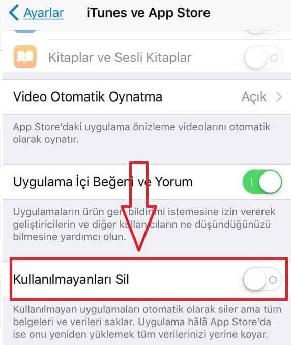 iphone otomatik uygulama silme kapatma