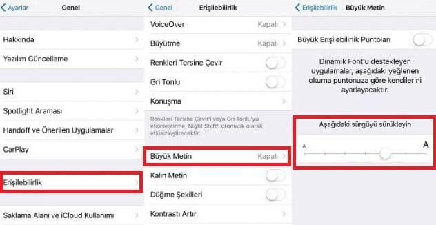 iphone yazı tipi değiştirme