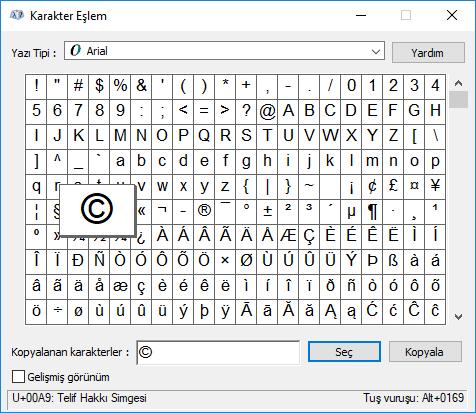 klavyede olmayan karakterler nasıl eklenir